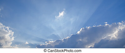 bleu, ciel, nuages