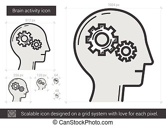 Brain activity line icon.