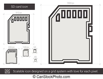 SD card line icon. - SD card vector line icon isolated on...