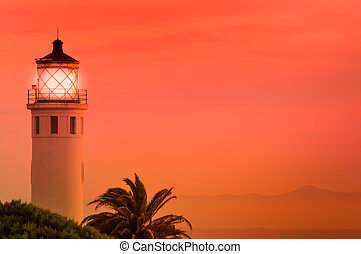 Point Fermin Lit Up - Point Fermin Lighthouse lit up at...