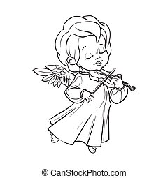 Cute baby angel making music playing violin