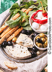 Antipasti - Mixed antipasti blue cheese, olives and...