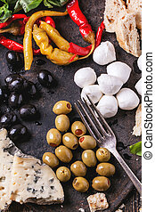 Antipasti - Mixed antipasti pickled peppers, olives and...