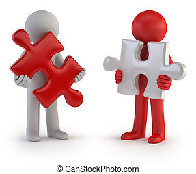 3d small people - Puzzle Teamwork - Partners in Business,...