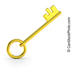 Golden key, Isolated white background, 3d