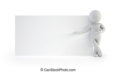 3d small people - next to an empty board