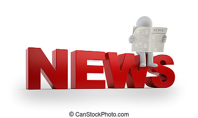 3d small people - news, Isolated white background
