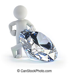 3d small people - diamond - a little man stands near a large...
