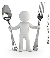 3d small people - fork and spoon - a little man holding a...