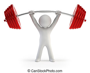 3d small people - Athlete lifting weights - little man is...