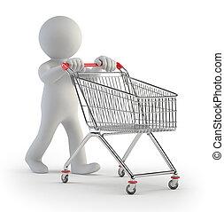 3d small people - cart - little man rolls grocery cart
