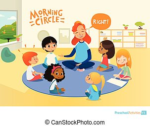 Teacher asks children questions and encourage them during morning lesson in preschool classroom. Circle-time. Pre-primary school education concept. Vector illustration for poster, advertisement