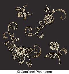 Hand drawn sketch floral elements in gold and black color