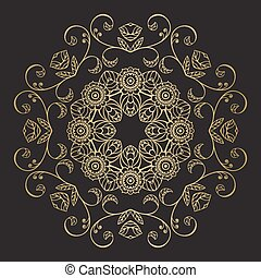 Gold color round floral mandala. For textile, invitations,...