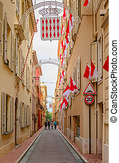 Tourists are walking on the narrow streets of Monaco-Ville -...