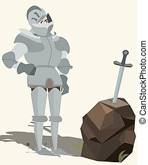 knight in armour looking at sword in stone vector cartoon -...
