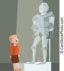 little girl at tour of the history museum vector cartoon