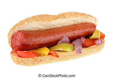Smoked Sausage - Smoked sausage on a sesame seed bun with...