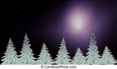 Sparkling Christmas trees shining in the starry nigh -...