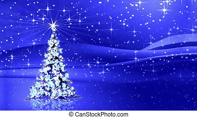 Sparkling decorated Christmas tree with star and rays of...