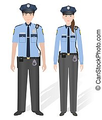 Police officers male and female isolated on white...