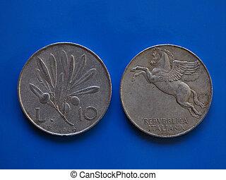 azul,  10, Itália, sobre,  liras, moeda