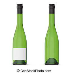 Two green wine bottles with blank labels, 3d rendering.