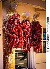 Red Chilli's called Rista air drying in New Mexico - A bunch...