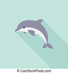 Dolphin jump icon, flat design with long shadow