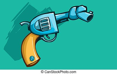 Gun with tied barrel - Vector illustration of a old revolver...