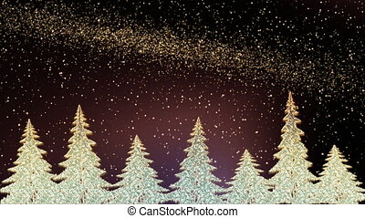 Sparkling Christmas trees shining in snowy night - Christmas...