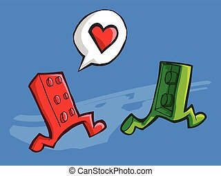 Two Lego in love - Vector illustration of two bricks lego...