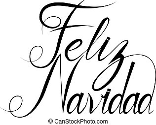 Feliz Navidad text design template with typography on white...