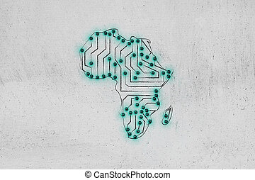 africa map made of electronic microchip circuits - concept...