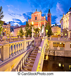 Tromostovje bridge and square in Ljubljana - Tromostovje...