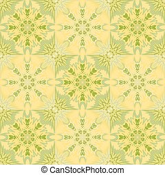 Oriental floral traditional yellow green ornament, Mediterranean seamless pattern, Turkish tile design, vector illustration