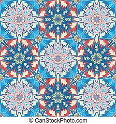 Oriental floral traditional blue pink ornament, Mediterranean seamless pattern, Turkish tile design, vector illustration