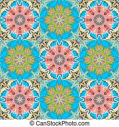 Oriental floral traditional green pink ornament, Mediterranean seamless pattern, Turkish tile design, vector illustration