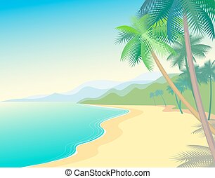 Coastal sandy beach palm trees. Vector illustration