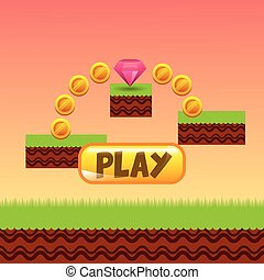 videogame interface design - videogame interface with coins...