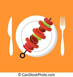 grilled skewer icon - plate with grilled skewer over orange...