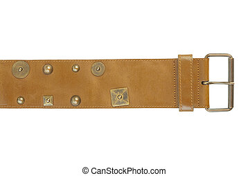 Wide leather belt | Isolated - Brown leather belt with...