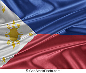 Philippines flag with a glossy silk texture. - Philippines...
