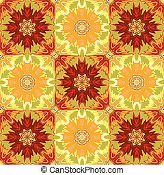 Oriental floral traditional yellow red ornament, Mediterranean seamless pattern, Turkish tile design, vector illustration