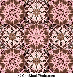 Oriental floral traditional ornament, Mediterranean pink brown seamless pattern, Turkish tile design, vector illustration