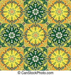 Oriental floral traditional orange green ornament, Mediterranean seamless pattern, Turkish tile design, vector illustration