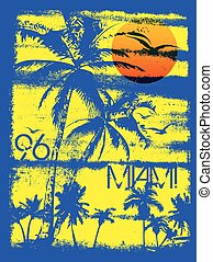 Miami summer tee graphic design