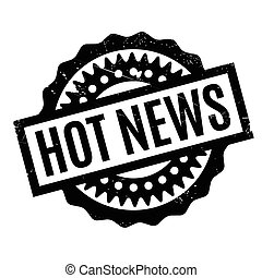 Hot News rubber stamp. Grunge design with dust scratches....