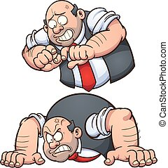 Angry man in two different poses. Vector clip art...
