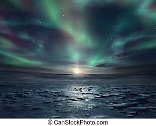 Ice desert - Night landscape of frozen desert and starry sky...